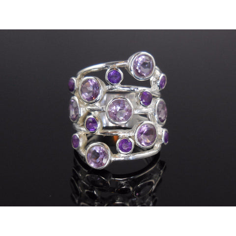 Amethyst Quartz Sterling Silver Ring - Size 7.5