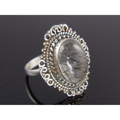Rutilated Quartz Sterling Silver Ring - Size 8.5