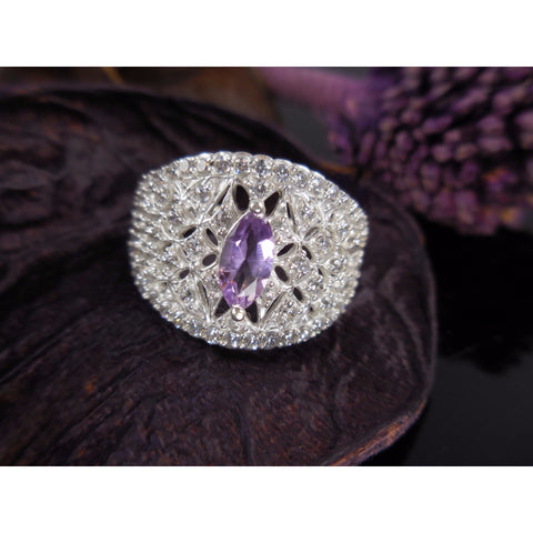 Amethyst & CZ Sterling Silver Ring - Size 7.50
