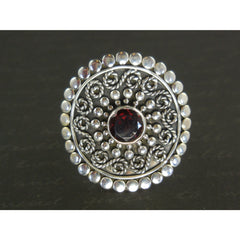 Garnet Gemstone Sterling Silver Ring - Size 7.0