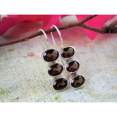 Smoky Topaz 3-Stone Sterling Silver Earrings