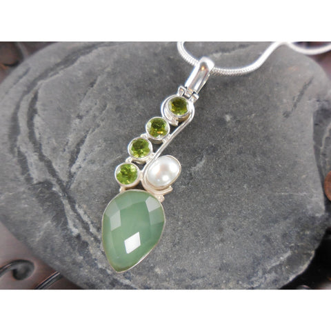 Prehnite, Peridot, and Pearl Sterling Silver Necklace