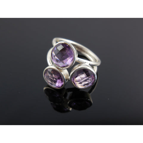 Amethyst Gemstone 3-Stone Sterling Silver Ring - Size 7