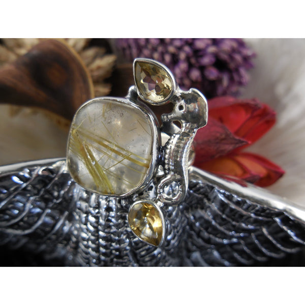 Golden Rutilated and Citrine Seahorse Stering Silver Ring - Size 6.25