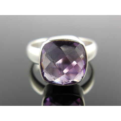 Amethyst Quartz Sterling Silver Ring - Size 7