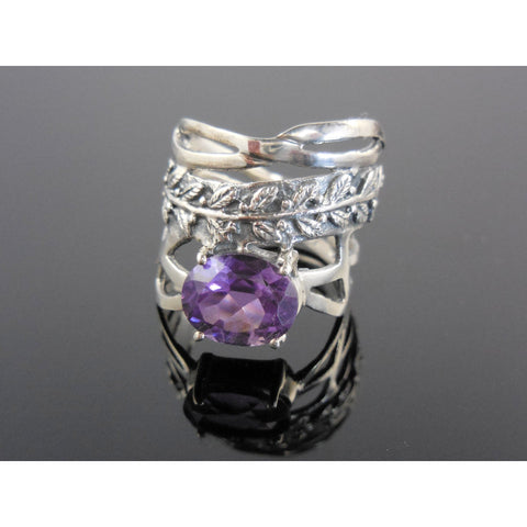 Amethyst Sterling Silver Leaf Ring - Size 8