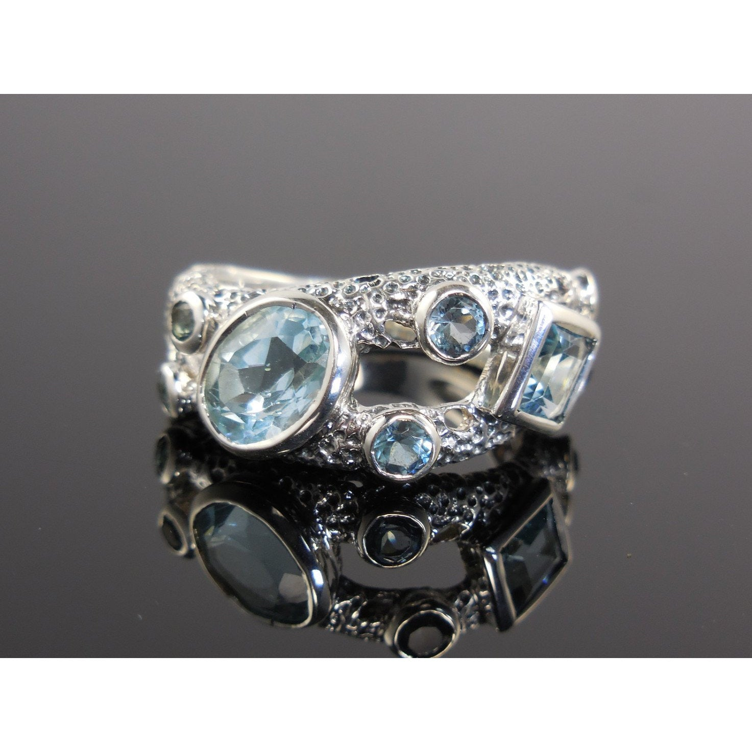 Blue Topaz 8-Stone Sterling Silver Ring - Size 7