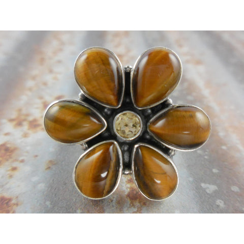 Tiger's Eye and Citrine Quartz Sterling Silver Ring - Size 7