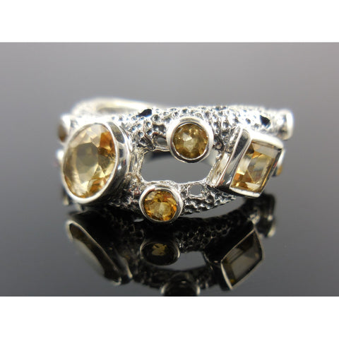 Citrine Gemstone Sterling Silver Ring - Size 7.5