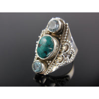 Turquoise & Bue Topaz Sterling Silver Ring - Size 8.5