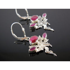 Ruby Sterling Silver Fairy Earrings