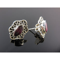 Garnet Cabochon Sterling Silver Post Earrings