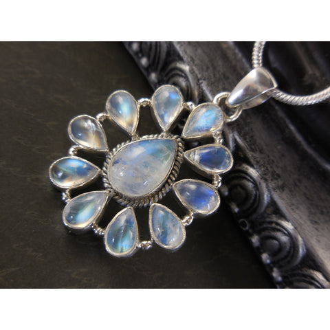 Moonstone 11-Stone Sterling Silver Pendant w/Chain