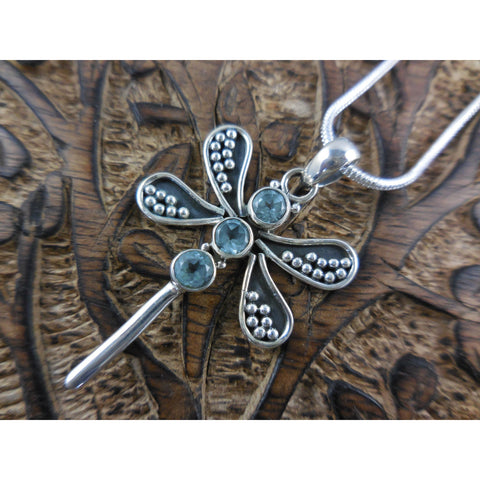 Blue Topaz Sterling Silver Dragonfly Pendant/Necklace