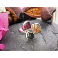 Multi-Color Tourmaline (Rough) Sterling Silver Ring – Size 5.75