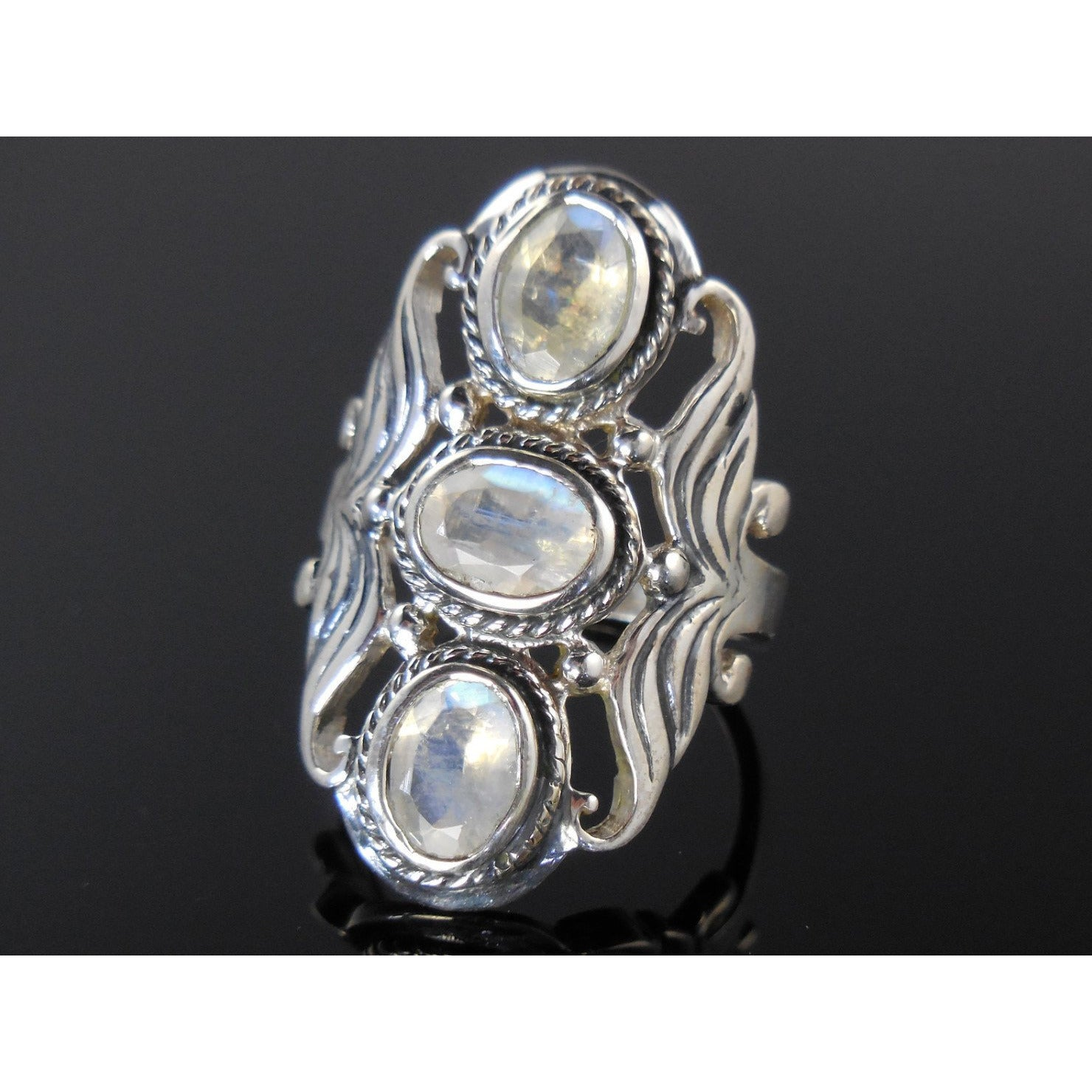 Moonstone 3-Stone Sterling Silver Ring - Size 8
