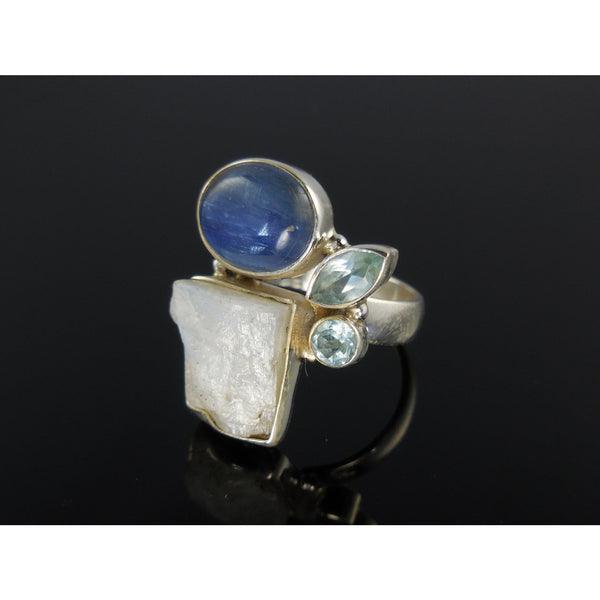 Kyanite, Moonstone Rough, and Blue Topaz Sterling Silver Ring - Size 7.25