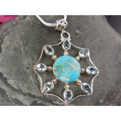 Turquoise & Blue Topaz Sterling Silver Pendant