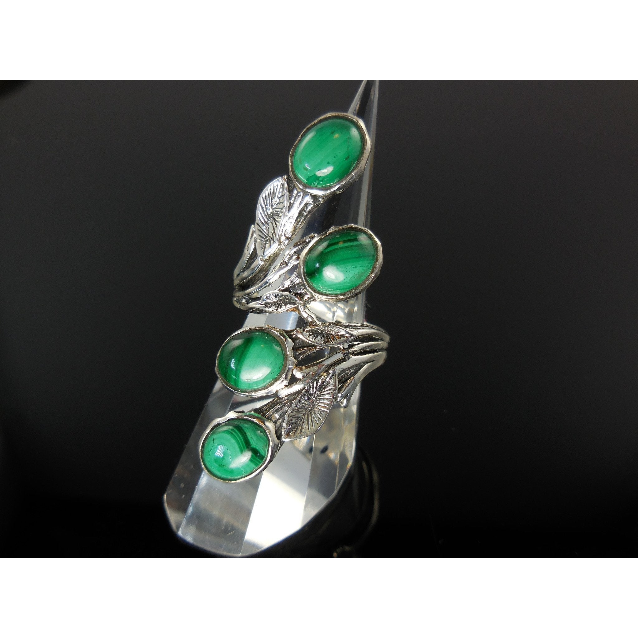 Malachite Cabochon Sterling Silver Ring - Size 8