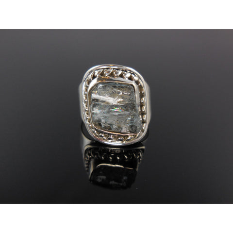 Aquamarine Gemstone Rough Sterling Silver Ring - Size 6.75