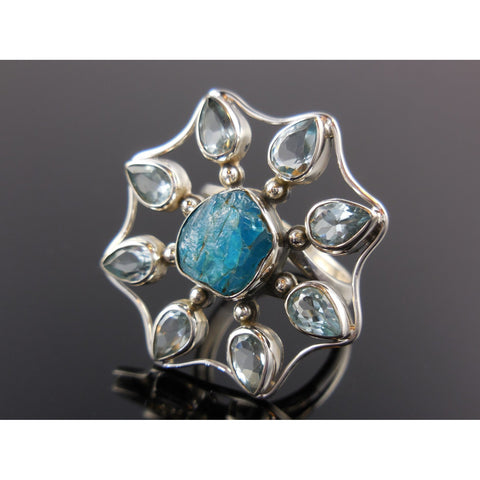 Apatite Rough & Blue Topaz Sterling Silver Ring - Size 7.5
