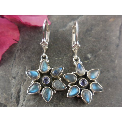 Labradorite & Amethyst Sterling Silver Star Flower Earrings
