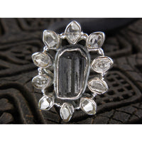 Tourmaline Rough and Herkimer Diamond (Quartz) Sterling Silver Ring - Size 7.75