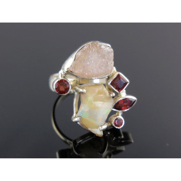 Ethiopian Opal & Morganite Rough and Garnet Sterling Silver Ring - Size 9.25