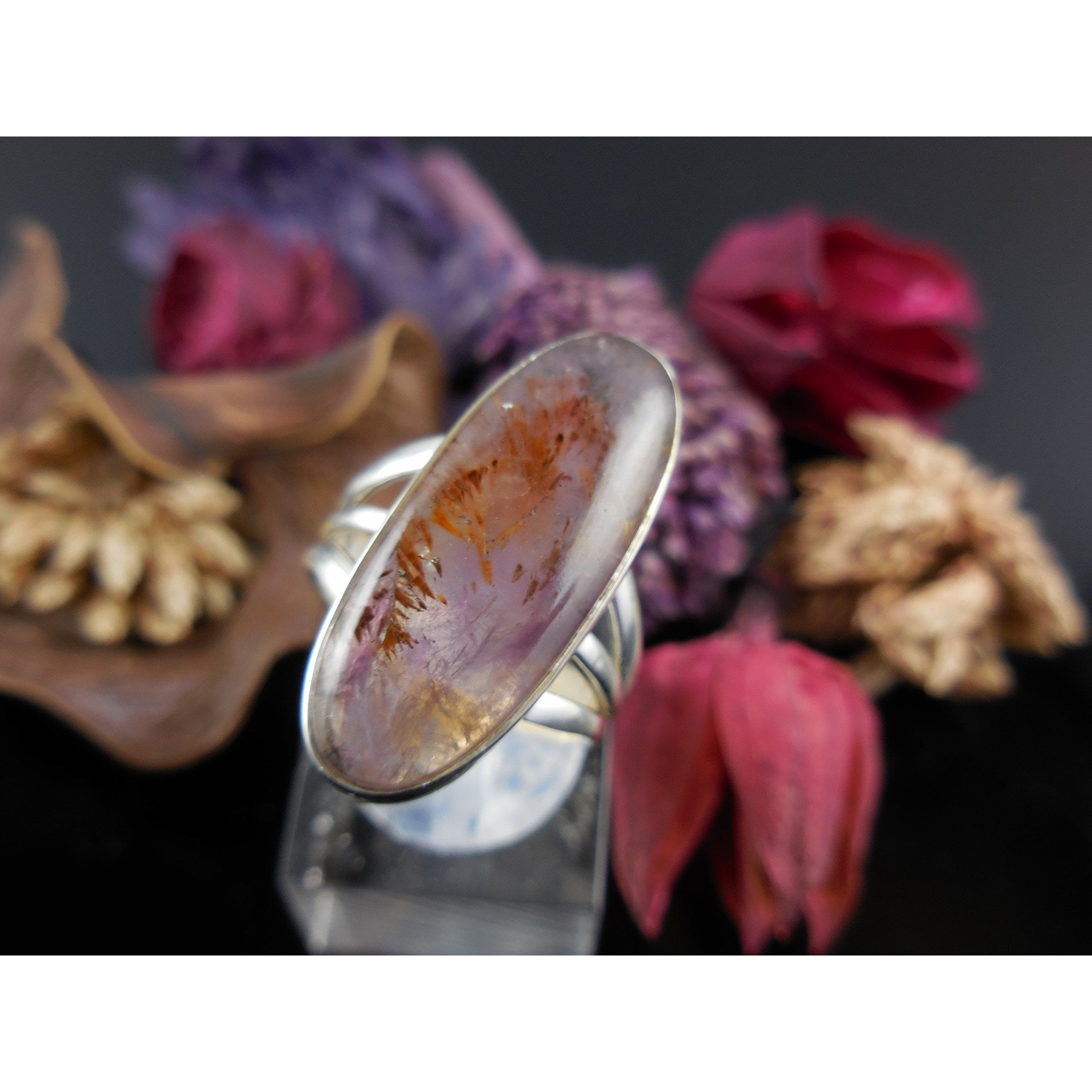 Cacoxenite Mineral Cabochon Sterling Silver Ring - Size 6.75