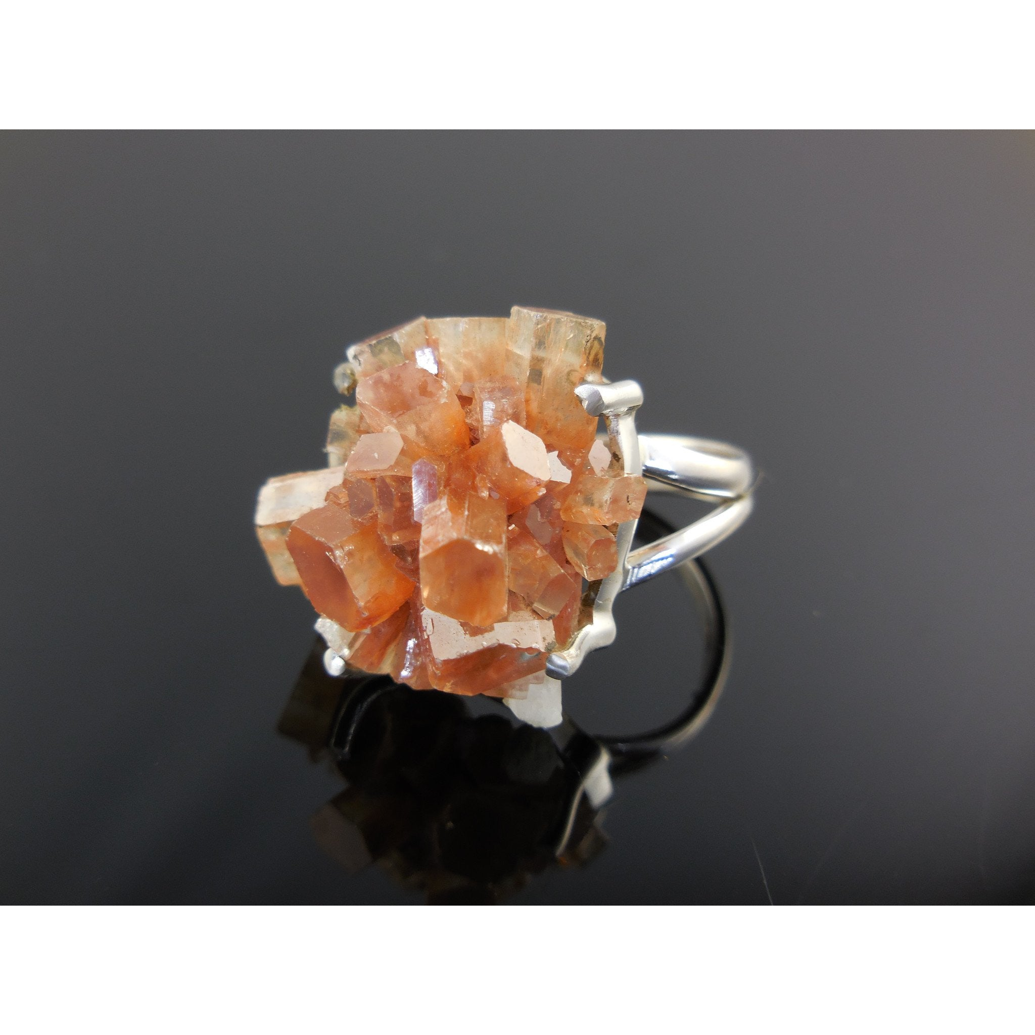 Aragonite Crystal Cluster Sterling Silver Ring - Size 5.5