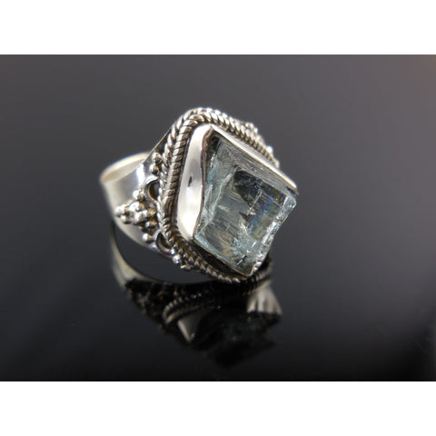 Aquamarine Rough Sterling Silver Ring - Size 7.5