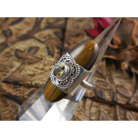 Tiger's Eye & Citrine Gemstone Sterling Silver Ring - Size 7