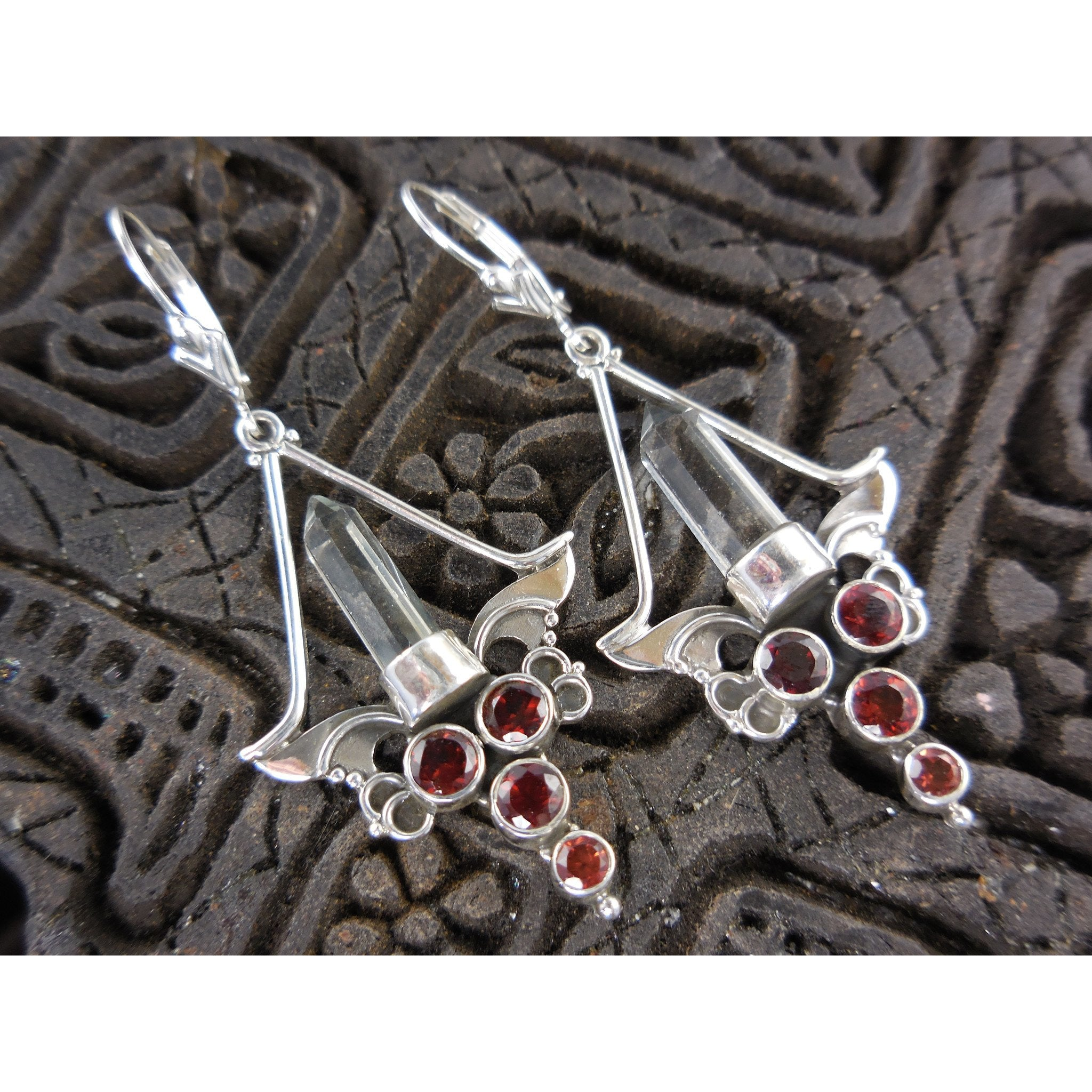 Garnet herkimer diamond quartz sterling silver chandelier garnet herkimer diamond quartz sterling silver chandelier earrings aloadofball Gallery