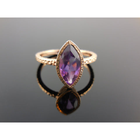 Amethyst Gemstone Rose Gold Over Sterling Silver Ring - Size 7.75