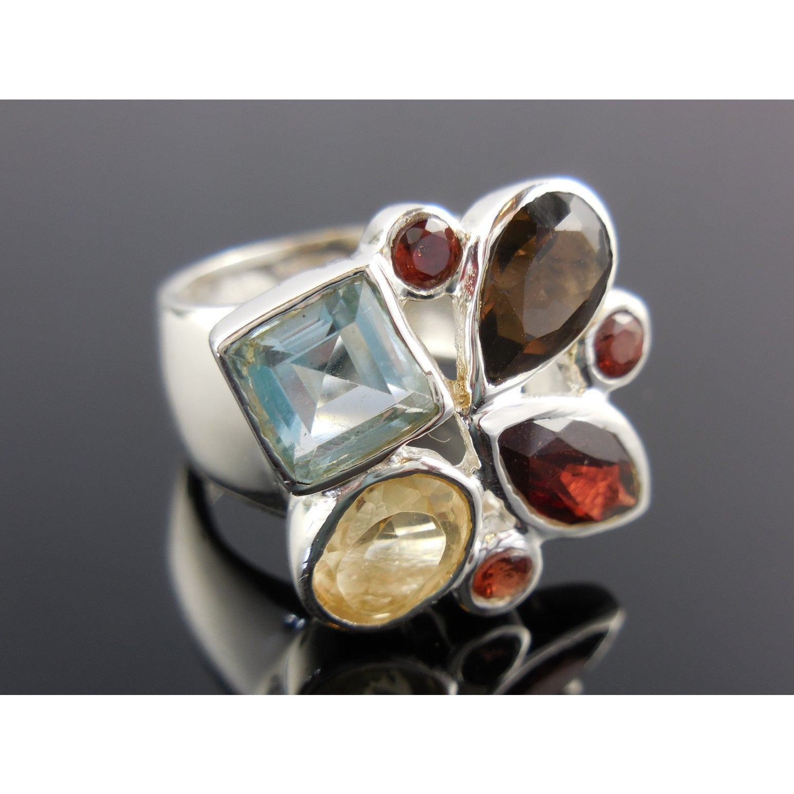 Garnet, Citrine, Smoky Quartz, & Blue Topaz Gemstone Sterling Silver Ring - Size 6.0