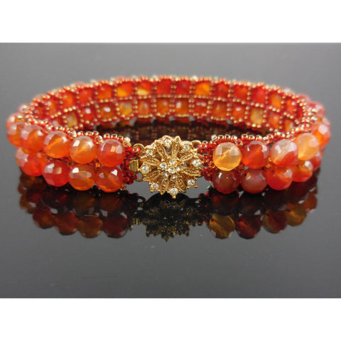 Handwoven Carnelian Bracelet with GP Crystal Box Clasp
