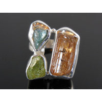 Tourmaline, Apatite, and Peridot (Rough) Gemstone Sterling Silver Ring - Size 7.75