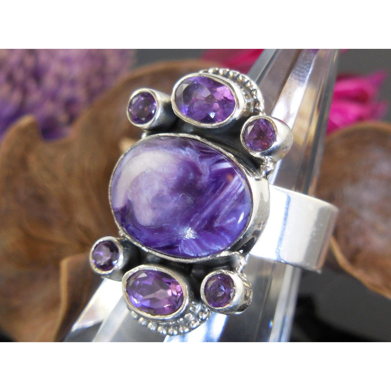 Charoite & Amethyst Quartz Sterling Silver Ring - Size 6.5