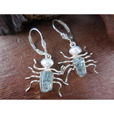 Aquamarine (Rough) & Freshwater Pearl Spider Sterling Silver Earrings