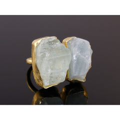 Aquamarine Rough Gemstone Vermeil Ring - Size 5.25