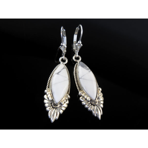 Howlite Floral Sterling Silver Earrings