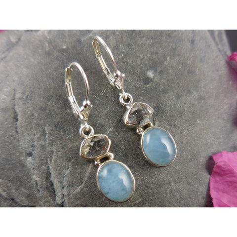 Aquamarine & Herkimer Diamond (Quartz) Sterling Silver Earrings
