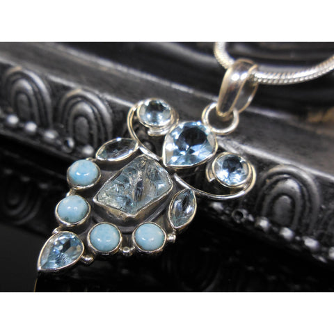 Aquamarine Rough, Larimar, and Blue Topaz Sterling Silver Pendant/Necklace