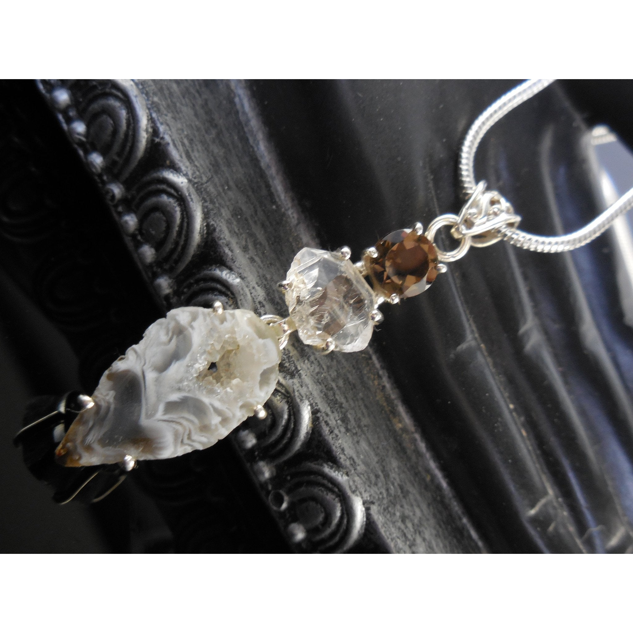 Agate Drusy, Herkimer Diamond (Quartz) and Smoky Topaz Sterling Silver Pendant/Necklace