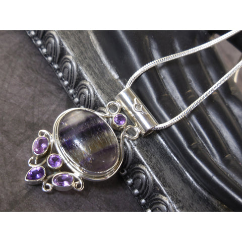 Fluorite & Amethyst Gemstone Sterling Silver Pendant/Necklace