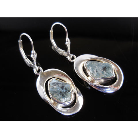 Aquamarine (Rough) Gemstone Sterling Silver Earrings