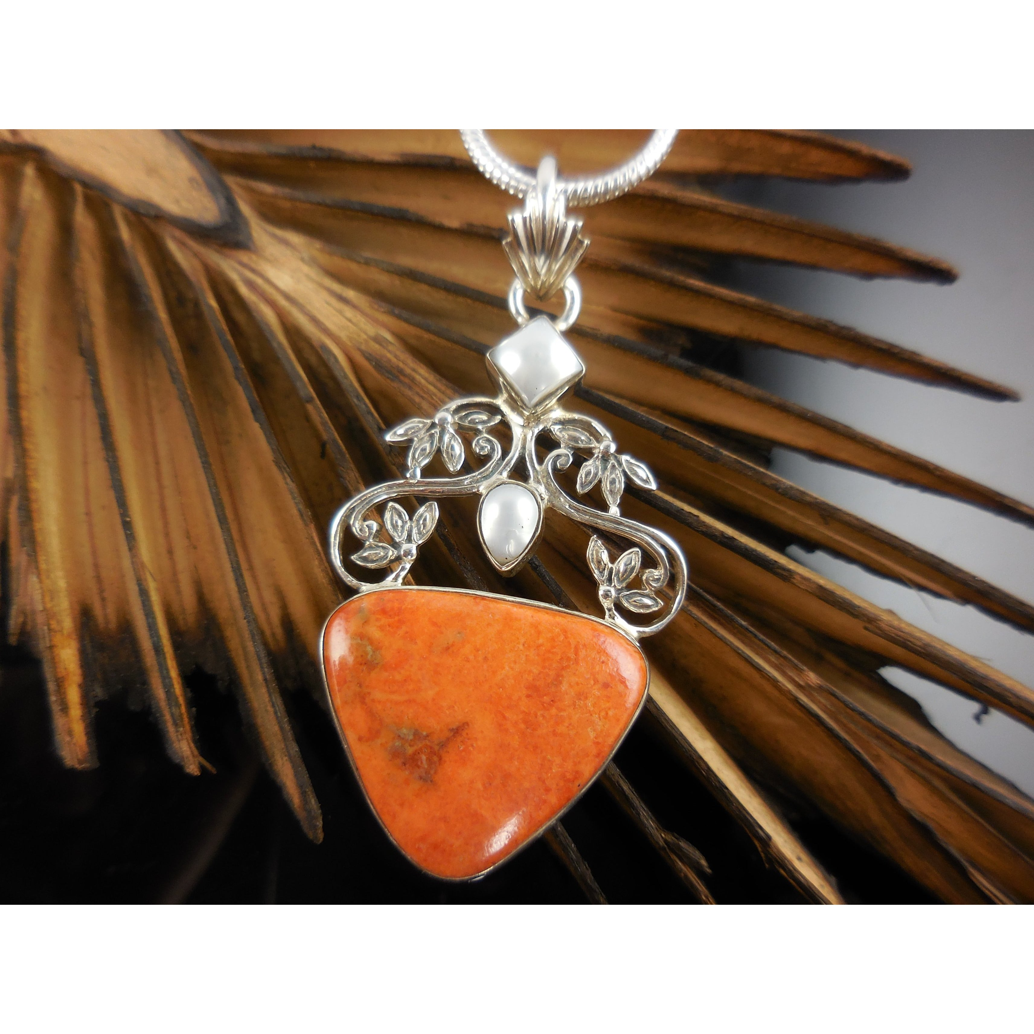 Italian Coral & Freshwater Pearl .925 Sterling Silver Pendant/Necklace