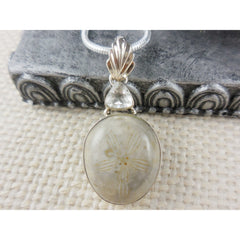 Fossilized Coral & White Topaz Sterling Silver Pendant/Necklace