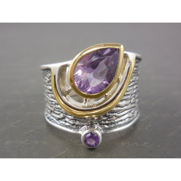 Amethyst Two-Tone 14kt Gold-Over-Sterling (Vermeil) & Sterling Silver Ring - Sizes 6.5-9.5