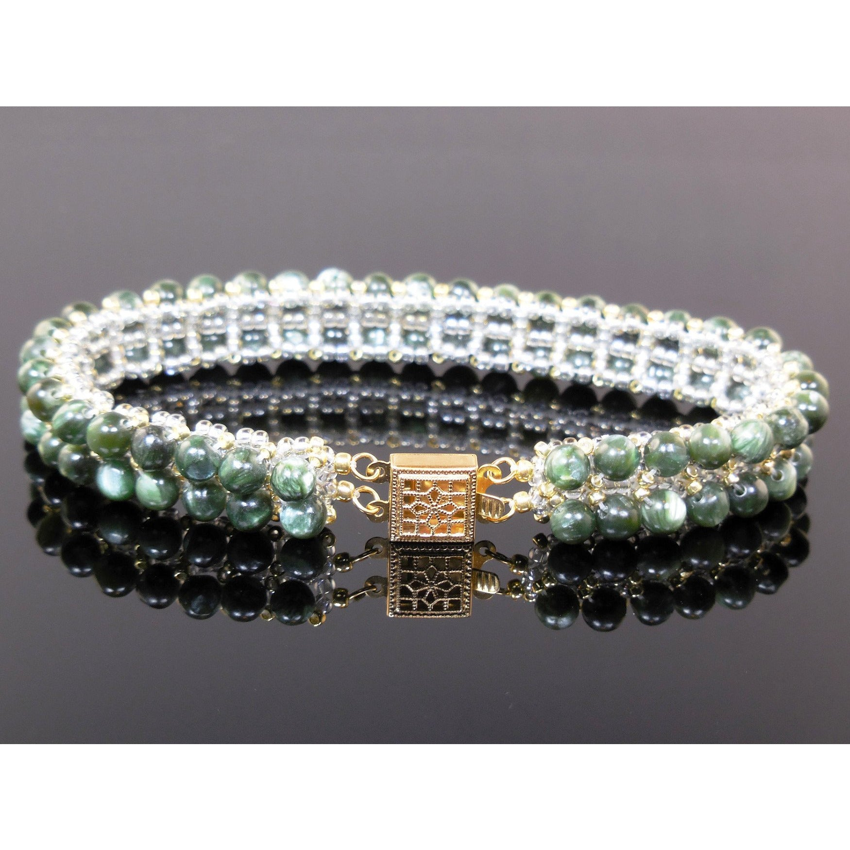 Handwoven Seraphinite Bracelet w/14kt Gold-Filled Box Clasp
